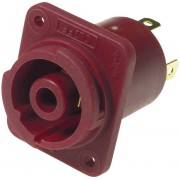 Conector CLIFFCON® cu protecţie la contact, 4 pini, soclu mamă, roşu, 250 V/AC