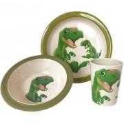 Merkloos 3-Delig ontbijtset bord/kom/beker voor kinderen dino thema wit/groen melamine