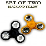 Fidget Spinner - Anti Anxiety Fidget Spinner Helps Focusing Fidget Toys [3D Figit] Premium Quality EDC Focus Toy for Kids & Adults - Best Stress Reducer Relieves Anxiety and Boredom Ceramic Cube Bearing - BLACK & YELLOW By ART N SOUL