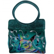 Zint Hand Tooled Painted Genuine Leather Green Shoulder Tote Bag With Multi Color Deer Design