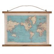 Wereldkaart van canvas met vintage print | Sass & Belle