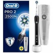 Електрическа четка за зъби Oral-B PRO 2 2500N CrossAction, 1 глава за четка за зъби, 1 калъф за пътуване, Черна