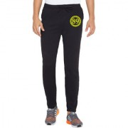 Cliths Men's Black Printed Polyester Sporty Active Track Pant Gym Wear