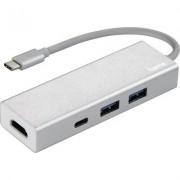 3-портов хъб USB-C HAMA Aluminium, USB 3.1 Gen1, 2 x USB-A, 1 x USB-C, 1х HDMI, Сребрист