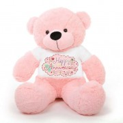 Pink 5 feet Big Teddy Bear wearing a Happy Anniversary T-shirt