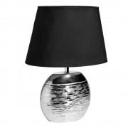 Maisons du Monde Lámpara de cerámica plateada con pantalla negra SATURNE