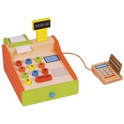 Lelin 8Pc Wooden Cash Register Childrens Shopping Shop Grocery Checkout Till Toys