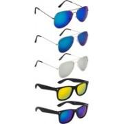 NuVew Aviator, Wayfarer Sunglasses(Blue, Golden, Green, Silver, Blue)