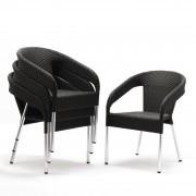 Bolero kunststof rotan stoel zwart - 4