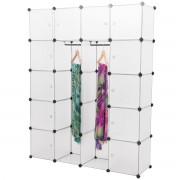 [neu.holz]® Подвижен гардероб с 12 отделения 180 x 145 x 37 cm, с място за закачалки, Бял