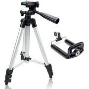 Long Portable Adjustable Metal Camera Tripod with Three-dimensional Head and With Mobile Clip Holder Bracket for Mobiles