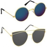 shadz Round, Butterfly Sunglasses(Blue, Black)