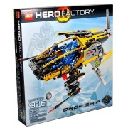 Lego Hero Factory Series Vehicle Set #7160 Drop Ship With Stealth Wings, Fins And Soft Exhaust Hoses Plus Pilot Figure (Total Pieces: 394)