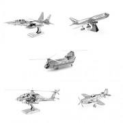 Metal Earth 3D Model Kits - Boeing Set of 5 - P-51 Mustang Plane - Boeing 747 - F-15 Eagle - AH-54 A