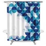 """Ylljy00 Cortina de baño con diseño de delfín, animales acuáticos, inspiraciones de la vida marina, diseño de criaturas del océano, cortinas de ducha de tela para baño, ganchos incluidos, 91,4 x 183 cm, color azul petróleo y blanco, Art Deco, Y02, 72""""W x84"""