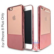 KC Premium Half Electroplated Soft Transparent Silicone TPU Case Back Cover for iPhone 8 Plus (Rose Gold)