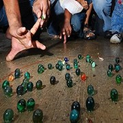 Kuhu Creations Supreme Marble Glass Playing Balls (Kanche Goli) Traditional Indian Game. (12 Units Multicolor 1cms)