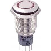 Întrerupător anti-vandalism 16 mm, iluminare 12V/inel, IP 67, 1 x ON/(ON), material alamă nichelată, buton plat, conexiune prin lipire, culoare led roşu