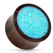 16 mm double-flared plug Crushed aqau met organic wood