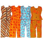 Wajbee Up-To-Date Girls Cotton Night Suit Set of 4