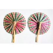 FolksHandcrafts Foldable Self Design Multicolor Hand Fan(Pack of 2)