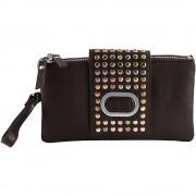 Díszes nagyméretű barna színű női pénztárca - Méret 20 x 12 cm - 48-S0502-BR