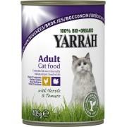 Bucati de pui si curcan cu urzici si rosii Bio pentru pisici, 405g, Yarrah