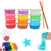 12 Colors Crystal Slime Kit Putty Toy for Kids -12 Pack with 2 Straws
