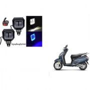 KunjZone Sqaure Aux Lamp/Fog Lamp White&Blue Drl Set Of 2 For Honda Activa