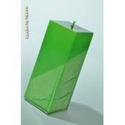 Candles by Milanne Kwadrant kaars, GROEN METALLIC, hoogte 16 cm - kaarsen