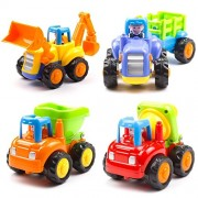 Toywale Unbreakable Engineering Automobile Car Construction Machine Toys Set for Children Kids Tractor Trolly, Trucks and JCB Machine (Set of 4), Multi Color