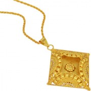 MissMister Gold Plated Square Shaped Cavity 3D Design Fashion Pendant Women Traditional Ethnic