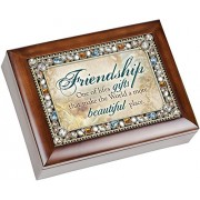 Friendship Lifes Gifts Jewel Musical Music Jewelry Box with Dark Wood Finish Plays Thats What Friend