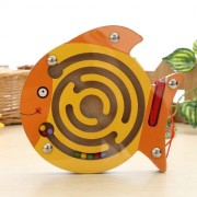 Children Puzzle Toy Wooden Magnetic Small Size Fish Pattern Animal Maze