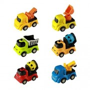 Jerryvon Mini Push Pull Back Car Toy Construction Truck Set Play Vehicle Game Excavator Cranes Mixers Dumper Truck with Cute Smile Face 6 Pcs for Kids Boys Children