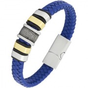 Braided Punk 100 Genuine Handmade Soft Durable Blue Leather Stainless Steel Wrist Band Bracelet Men