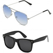 Code Yellow Blue Metal Aviator Sunglass + Free Black Wayfarer (UV PROTECTED) Sunglass