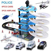 Generic Police FIRE Station Parking Lot Multilayer Assembly Rail Car Racing Alloy Car Model Children's Educational Toys for Children 4car 3plane Police
