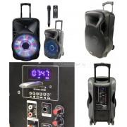 Професионална Караоке тонколона PARTY-15LED, акумулаторна батерия, един микрофон, Bluetooth, 250W