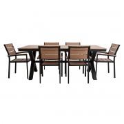Salón de jardín con mesa y 6 sillas negro y madera VIAGGIO - Miliboo