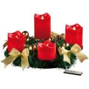Britesta Couronne de l'Avent avec ornements dorés & 4 bougies à LED