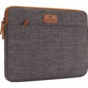 Geanta DOMISO pentru laptop macbook 14 inch compartimentata cu maner si fermoar dublu maro