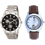 Luxury Black Dial Metal Belt And Brown Peacock Feathers Colour Couple Casual Analogue Watch By Vivah Mart