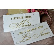 "Set placute cu accente aurii ''I stole her heart"" & "" I stole his last name"""