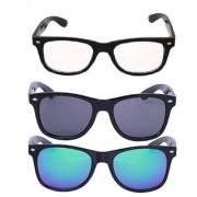 Debonair Pack Of 3 UV Protected Wayfarer Sunglasses (Clear Black Blue)