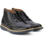 Clarks Flexton Mid Black Leather Boots For Men(Black)