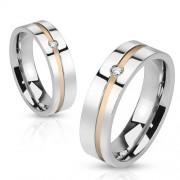 Aranyozott sávos nemesacél gyűrű, cirkóniával