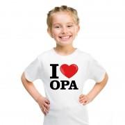 Shoppartners Wit I love Opa t-shirt kinderen