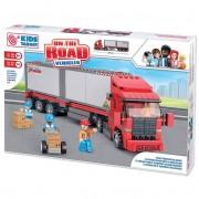 Costruzioni kids target camion merci con 3 personaggi snodati e accessori 345 pz