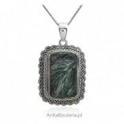 ankabizuteria.pl Stylowa zawieszka srebrna z zielonym surphanite